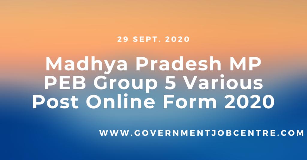 Madhya Pradesh MP PEB Group 5 Various Post Online Form 2020
