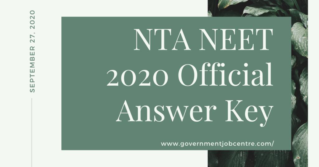 NTA NEET 2020 Official Answer Key