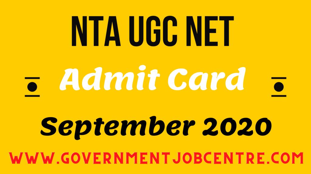 NTA UGC NET JRF September 2020 Admit Card