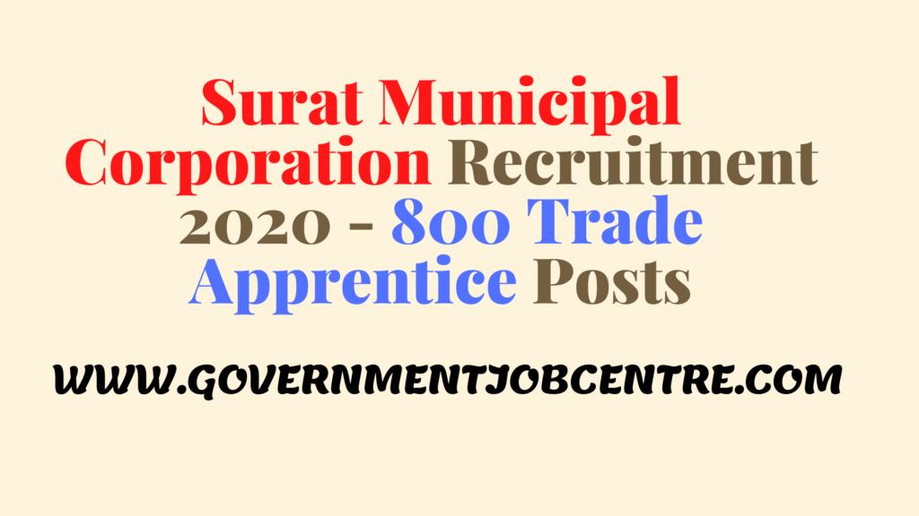 Surat Municipal Corporation Recruitment 2020 - 800 Trade Apprentice Posts