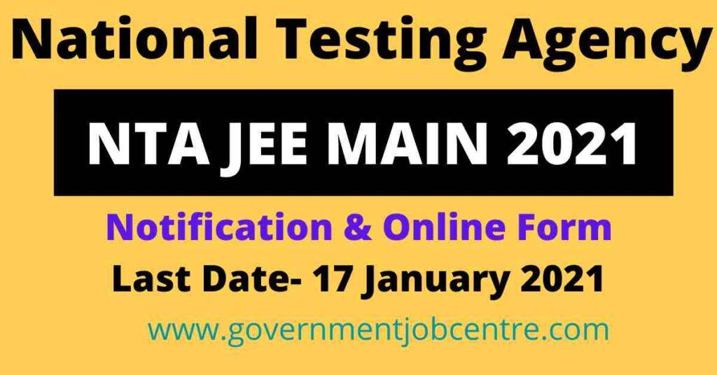 NTA JEE MAIN 2021 Online Form