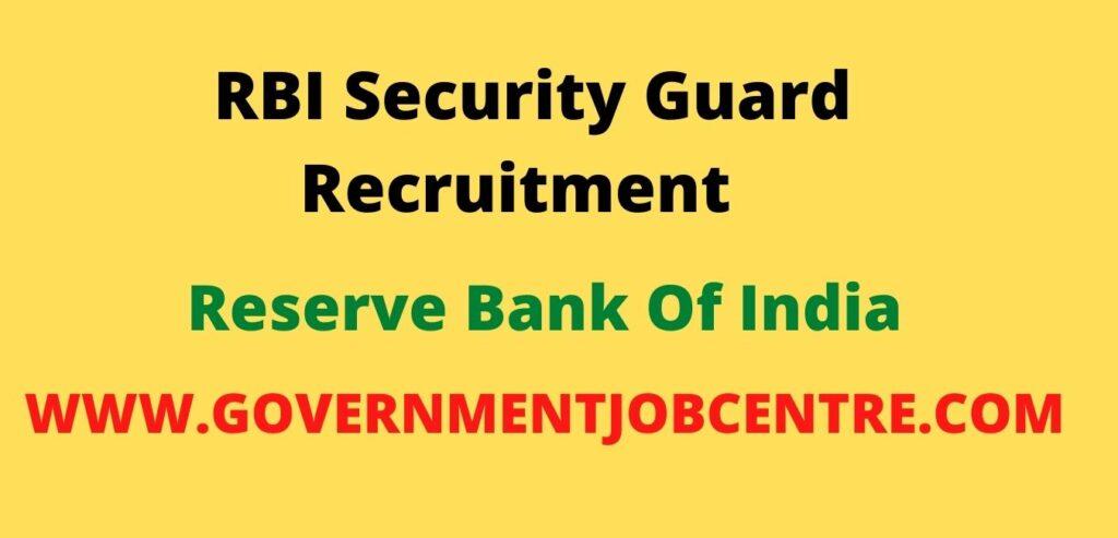 RBI Security Guard Recrutment