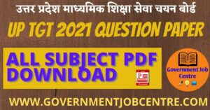 UP TGT 2021 Question Paper Download